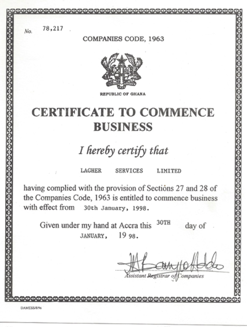 Certificate To Commence Business Zellco Group Of Companies